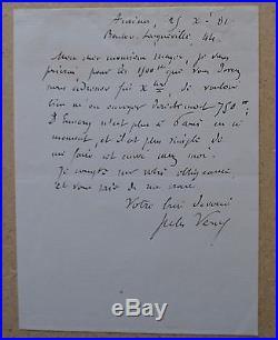 Rare lettre de Jules Verne de 1881 concernant les voyages au théâtre hetzel