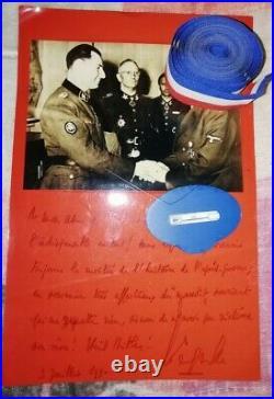 Rare photo dédicacé par Léon Degrelle avec Hitler