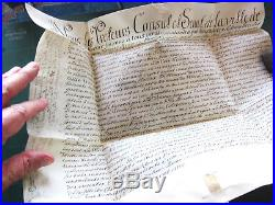 Rarissime acte authentique vente sur parchemin avec sceau de Strasbourg de 1705