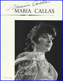 Rarissime autographe de MARIA CALLAS sur page de programme opéra