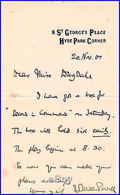 Robert Baden-powell / Lettre Autographe Signée (1901) / Scoutisme