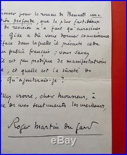 Roger MARTIN DU GARD Lettre autographe signée / GIDE / Arnold BENNETT