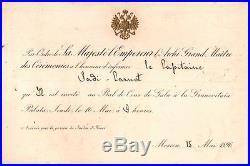 Russie. Invitation Bal de Cour de Gala Granovitaïa Palata. 1896. Sadi Carnot