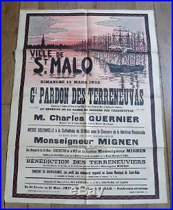 SAINT MALO affiche illustrée Grand Pardon des Terreneuvas 1932 voilier peche