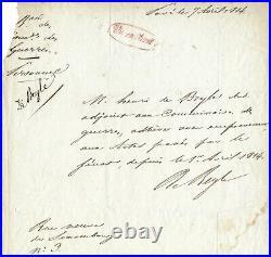 STENDHAL / Pièce autographe signée / Chute Napoléon / Restauration / Louis XVIII