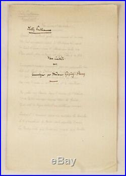 SULLY PRUDHOMME 5 poèmes manuscrits inédits 1890 + envoi autographe signé
