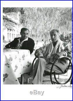 SUPERBE PHOTOGRAPHIE ORIGINALE de COCTEAU & AZNAVOUR par Lucien CLERGUE 1959