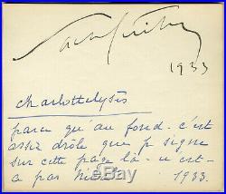 Sacha Guitry & Charlotte Lysès Rare page dédicacée en 1933 + Photo