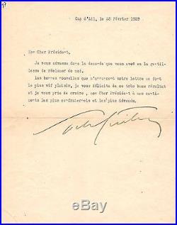 Sacha Guitry/ Lettre Signée (1929)