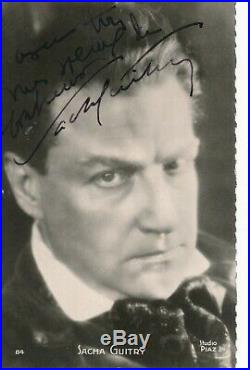 Sacha Guitry photographie signée studio Piaz autographe portrait