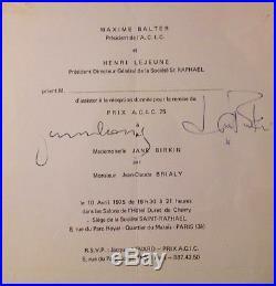 Serge GAINSBOURG / Jane BIRKIN Programme Dédicace Autographe Signé