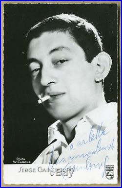 Serge Gainsbourg (1991) Rare authentique photo-carte dédicacée Autographe
