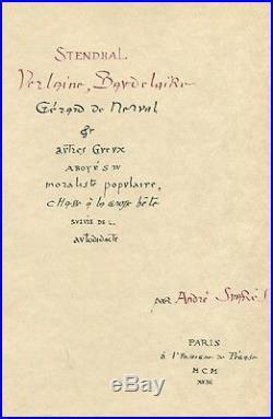 Suarès Stendhal Verlaine Baudelaire Nerval Eo 1/5 Tête Sur Japon / Jacomet