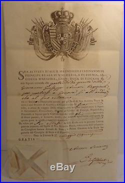 Superbe laisser-passer Ferdinando III de Toscane, 1795, sceau sec