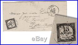 TAXE n°4, 15 c LITHOGRAPHIE sur lettre de Rouen (juillet 1871). Cote 1 500 EUR
