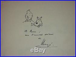 TINTIN LE CRABE AUX PINCE D' or signé par HERGE AVEC TINTIN / neigeuse dessin