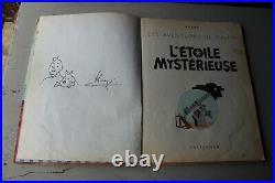 TINTIN autographe Hergé TINTIN dédicace Hergé sur album de 1954 un peu jauni