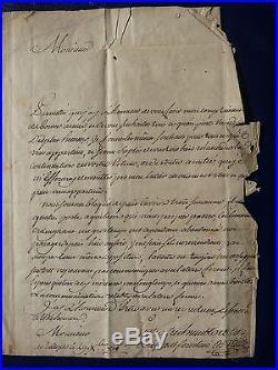 TRES RARE 1750 Correspondance de la Compagnie des Indes + Cachet cire