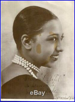 TRES RARE Photo Portrait grand format Autographe Dédicace de JOSEPHINE BAKER