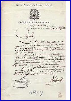 Tallien / Lettre Signée (1792) / Commune De Paris / Falsification De Signature