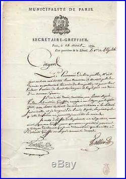 Tallien / Lettre Signée (1792) / Commune De Paris / Révolution / Robespierre