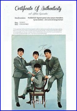 The BEATLES Autographe avec Certificat de G. Harrison + J. Lennon