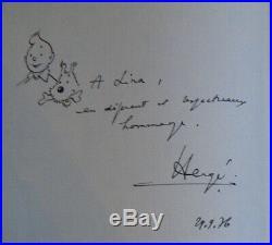 Tintin Et Les Picaros 1976 avec dedicace autographe et dessin de Hergé