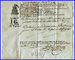 Traite des Nègres Connaissement Maritime MARSEILLE 1789