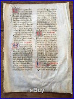 Très beau PARCHEMIN du XIV ème siècle avec ENLUMINURES
