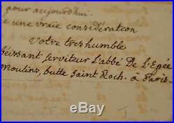 Très rare lettre de l'Abbé de l'Epée sur sa méthode d'enseignement aux sourds