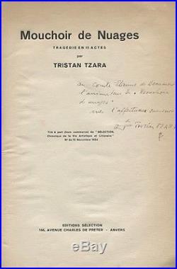 Tzara Mouchoir De Nuages 1924 Eo 2 Croquis Tzara Ouvrage Dédicacé À De Beaumont