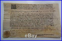 Velin & Sceau Signe D'armand De Bethune Comte De Velay, Seigneur Du Puy 1670