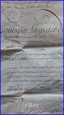 Vélin Signé Par Louis XV Et Le Duc De Choiseul, Chasseurs À Cheval, Daté 1761