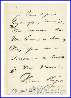 Victor HUGO / Lettre autographe signée / Reflexion introspective