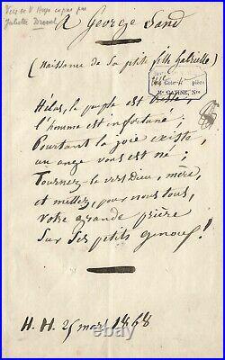 Victor HUGO Poème autographe à George Sand. Copié par Juliette Drouet