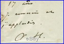 Victor Hugo Acrostiche Manuscrit Autographe Signé