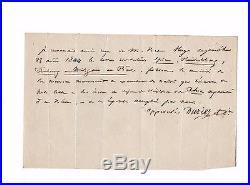 Victor Hugo / Lettre Autographe (1844) / Le Rhin / À Son Éditeur