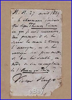 Victor Hugo / Lettre Autographe (1869) / L'homme Qui Rit