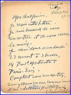 Vlaminck / Lettre Autographe (1920) / Fauvisme / Cubisme