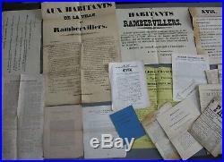 Vosges. Lot Documents Affiches Guerre 1870 Anti Dreyfus, Patois, JournauxXIXè