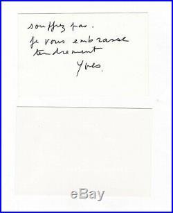 Yves Saint Laurent / Lettre Autographe (1993) / Joint Une Carte De Pierre Bergé
