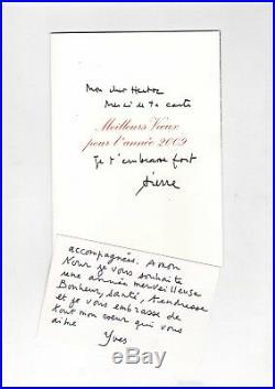 Yves Saint Laurent / Lettre Autographe Sur Carte De Visite / Carte De P. Bergé