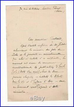 (affaire Dreyfus / Émile Zola) / Lettre Autographe De Paul Alexis / Calomnie
