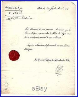(louis Xvi) / François Hue Lettre Signée (1814) / Valet De Chambre Du Roi
