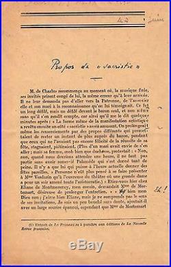 (marcel Proust) / Épreuves Corrigées De La Prisonnière Par Jacques Rivière -1923